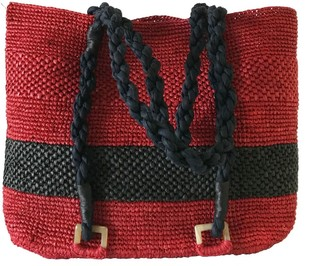 Maraina London Mimosa Red Beach Raffia Tote Bag With Black Stripe