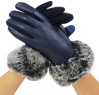 Cozy Design Women's PU Leather Screen Touch Gloves with Faux Cony Hair Cuffs Navy Blue S