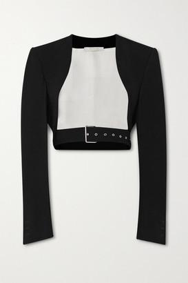 Peter Do Cropped Belted Cady Jacket - Black