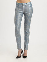 7 For All Mankind The Skinny Metallic Embroidery-Print Jeans