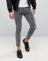 Pull&Bear Super Skinny Cropped Jeans With Rips In Gray
