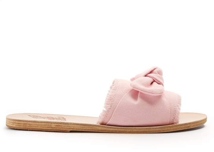 Ancient Greek Sandals Taygete bow-embellished denim and leather slides