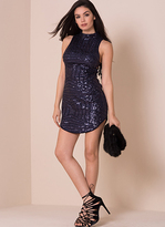 Missy Empire Adele Navy Sequin Side Lace Up Detail Dress