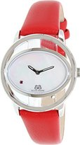 88 Rue du Rhone Women's 'Double 8 Origin' Swiss Quartz Stainless Steel and Leather Dress Watch, Color:Red (Model: 87WA153510)