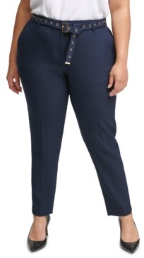 Calvin Klein Plus Size Hardware-Embellished Belted Pants