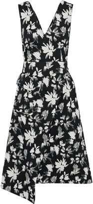 GOEN.J Wrap-effect Floral-print Boucle Dress