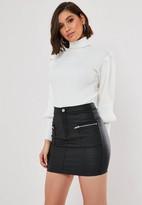 Missguided Black Coated Zip Pocket Denim Mini Skirt