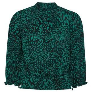 Dorothy Perkins Womens Dp Petite Green Leopard Print High Neck Blouse, Green