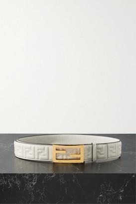 Fendi Embossed Leather Belt - Ivory