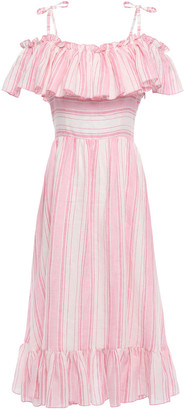 Gül Hürgel Thistle Cold-shoulder Ruffled Striped Linen Midi Dress