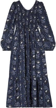 Apiece Apart Olivia Smocked Floral-print Silk-satin Maxi Dress