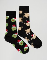Asos Holidays Socks With Dinner Design 2 Pack