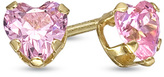 Zales Child's 4.0mm Heart-Shaped Pink Crystal Stud Earrings in 14K Gold