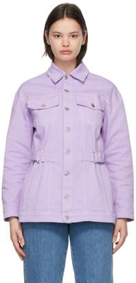 MSGM Purple Belted Denim Jacket