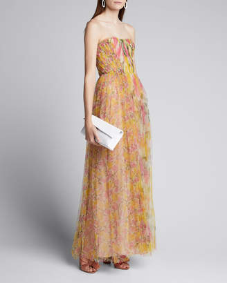 Jason Wu Collection Strapless Printed Tulle Gown