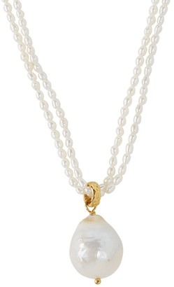 Chan Luu 3MM-15MM White Pearl Double Layer Necklace
