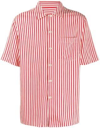 Ami Paris Striped Camp Collar Short-Sleeve Shirt