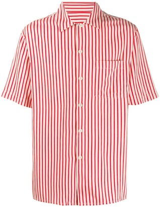 Ami Striped Camp Collar Short-Sleeve Shirt