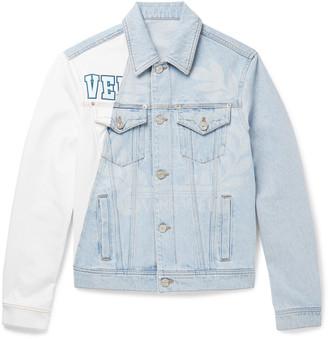 Versace Two-Tone Printed Bleached Denim Jacket - Men - Blue