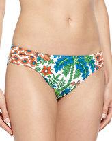 Tommy Bahama Palm Paisley Side-Shirred Bikini Bottom, White