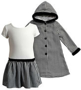Sweet Heart Rose Sweetheart Rose Girls 2-6x Two Piece Houndstooth Printed Coat and Knit Dress