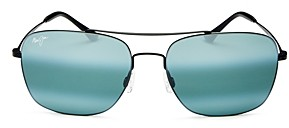 Maui Jim Men's Lava Tube Polarized Mirrored Brow Bar Aviator Sunglasses, 57mm
