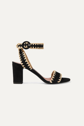 Tabitha Simmons Leticia Whipstitched Raffia And Suede Sandals - Black