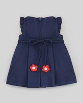 Florence Eiseman Plain Pincord Flutter-Sleeve Dress, Navy, 12-24 Months
