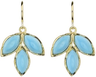 Irene Neuwirth Turquoise Leaf Earrings - Yellow Gold