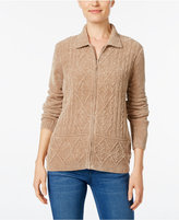 Alfred Dunner Chenille Zip-Up Cardigan