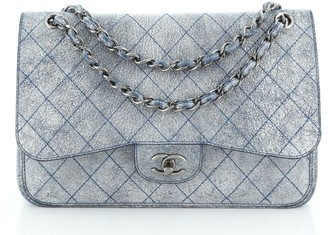 Chanel Classic Double Flap Bag Stitched Crackled Calfskin Jumbo