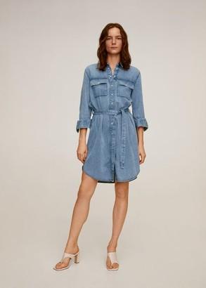 MANGO Belt denim dress medium blue - 2 - Women