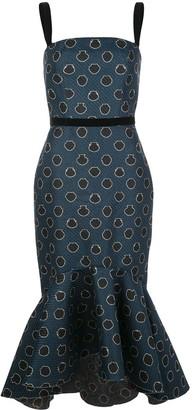 Johanna Ortiz Rito Ancestral peplum hem cocktail dress