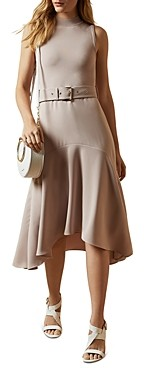 Ted Baker Corvala Belted Fluted-Skirt Midi Dress