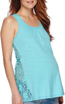 Asstd National Brand Maternity Crochet Lace Tank Top-Plus