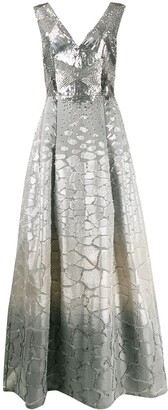 Alberta Ferretti Embroidered Bodice Gown