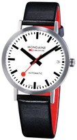 Mondaine 'Classic' Automatic Leather Strap Watch, 33mm