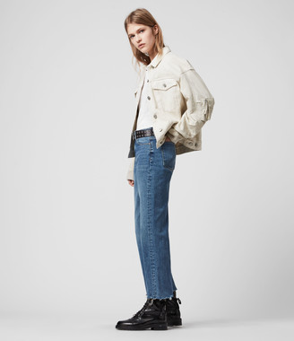 AllSaints Harper Cropped High-Rise Straight Jeans, Mid Indigo Blue