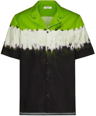 Valentino Dip Dye Print Short Sleeve Shirt Fluorescent Green