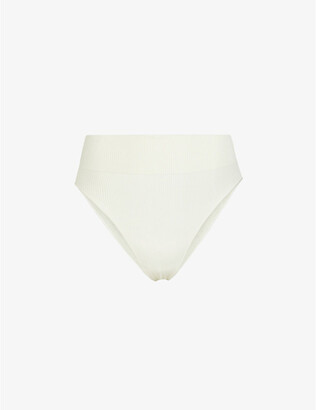 SKIMS Ladies Cream Stretch Rib Brief, Size: XXS/XS