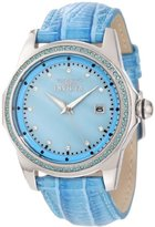 Invicta Women's 10344 Wildflower Blue Mother-Of-Pearl Dial Blue Crystal Accented Blue Leather Watch