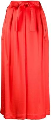 McQ Swallow Pleated Wide Leg Silk Trousers