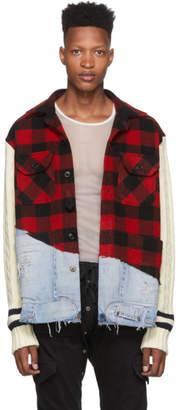Greg Lauren Red Denim 50/50 Check Studio Jacket