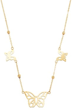 Bloomingdale's Butterfly Station Necklace in 14K Yellow Gold, 18 - 100% Exclusive