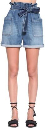 RED Valentino High Waist Cotton Denim Shorts