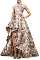 Monique Lhuillier Sleeveless Metallic-Tapestry High-Low Gown, Blush