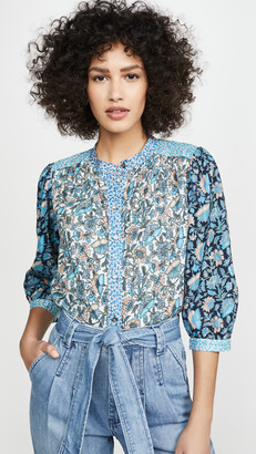 La Vie Rebecca Taylor Long Sleeve Print Mix Top