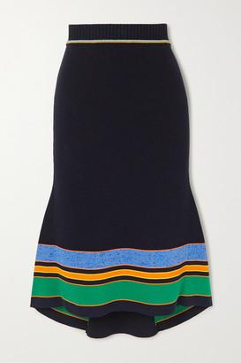 Victoria Beckham Striped Ribbed Cotton-blend Midi Skirt - Navy
