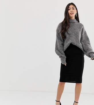 Asos DESIGN Petite jersey pencil skirt-Black