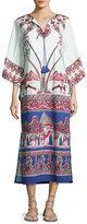 Figue 3/4-Sleeve Printed Caftan Dress, Ivory